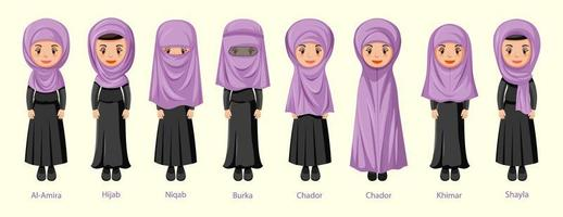 Types of Islamic traditional veils on women character vector