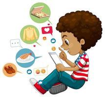 Boy with social media elements vector