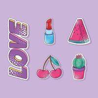 Pop art cute sticker set