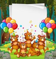 Party paper frame template with teddy bears