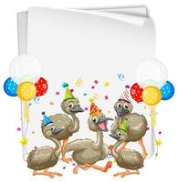 Party paper template with ostrich