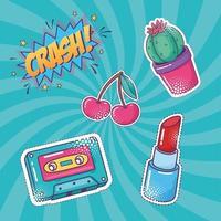 Pop art cute sticker set vector