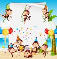 Party paper frame template with monkeys