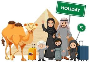familia musulmana árabe de vacaciones