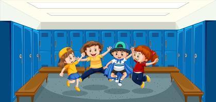 Group of children in locker room vector