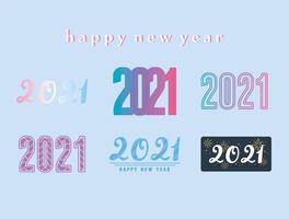 Happy New Year 2021 lettering set