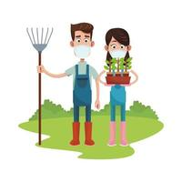 Farmers couple wearing masks with rake and houseplant