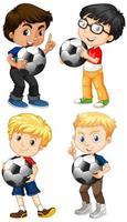 conjunto, de, multicultural, niño, tenencia, balones de fútbol