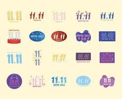 November eleventh, shopping day promo set vector