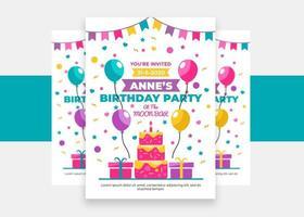 folleto de invitación de fiesta de feliz cumpleaños para niños vector