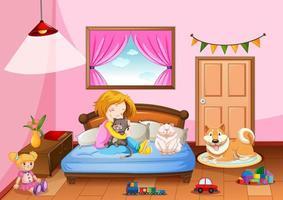 Quarto de menina em tema de cor rosa com uma menina e um animal de estimação