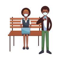 pareja afro con máscara médica usando tecnología