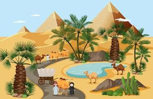 Desert oasis with palm trees nature landscape scene