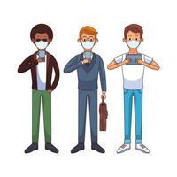 hombres jóvenes interraciales con máscaras médicas que usan tecnología