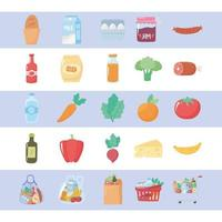 Groceries and food icon set