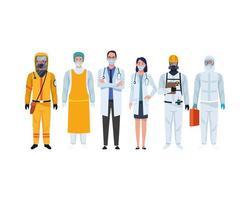 personal médico con máscaras médicas y traje de bioseguridad vector