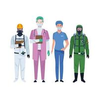 Doctors staff wearing medical masks and biosafety suit vector