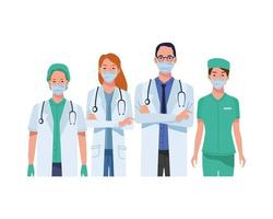 Doctors staff wearing medical masks characters vector