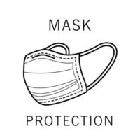 Medical mask protection accessory icon