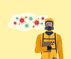 Biosafety worker with biohazard suit and covid19 particles vector