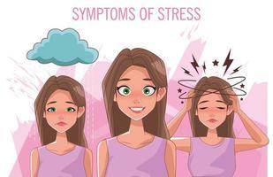 grupo de mujeres con síntomas de estrés vector