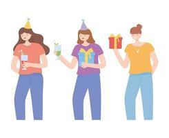 mulheres jovens felizes com conjunto de elementos de festa