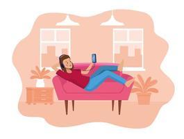 Woman using smartphone in sofa scene vector