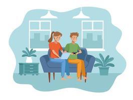 Couple in quarantine living room scene vector