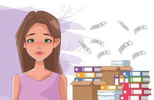 Mujer triste con síntoma de estrés y pila de documentos vector