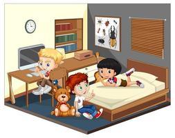 tres chicos en la escena del dormitorio vector
