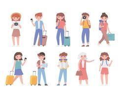 Set of tourist people travelling