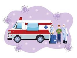trabajadores de bioseguridad con paciente en ambulancia vector