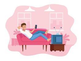 Man in sofa using smartphone scene vector