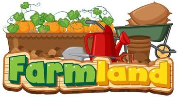 Farmland banner with gardening tools vector