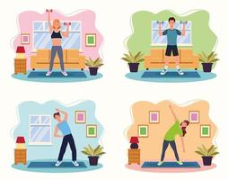 People practicing exercise in the house vector