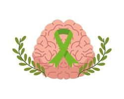 Cerebro humano con cinta de campaña, atención de salud mental.
