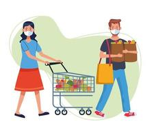 Couple shopping in supermarket with face masks