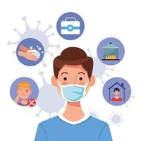 Young man using mask with covid19 set icons