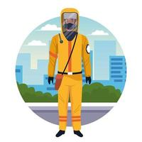 Worker using yellow protection virus suit character