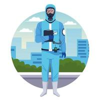 Worker using blue protection virus suit character