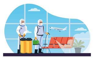 Los trabajadores de bioseguridad desinfectan el aeropuerto de covid19 vector