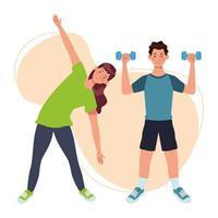 pareja levantando pesas, personajes de atletas vector
