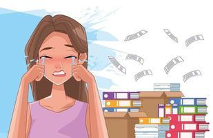 Mujer llorando con síntoma de estrés y pila de documentos vector