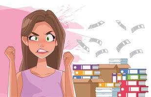 Angry woman with stress symptom and documents pile vector