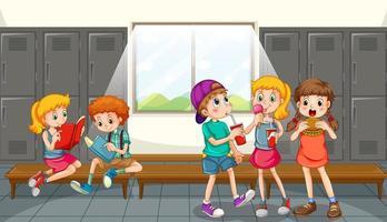 Group of children eating in locker room vector