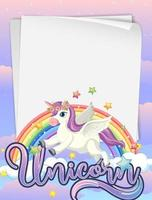 Blank paper banner with cute unicorn vector