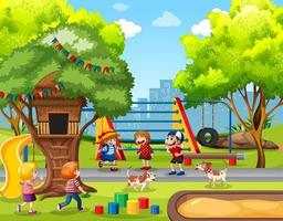 Children playing in playground scene vector