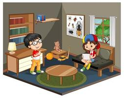 Kids in living room scene vector
