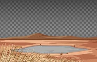 Dry land landscape on transparent background