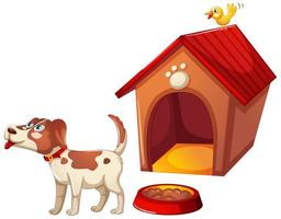 A cute dog with its house on white background